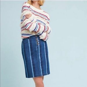 Anthro Maeve Blue Hill Striped Denim Pencil Skirt